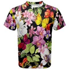 Beautiful,floral,hand painted, flowers,black,background,modern,trendy,girly,retro Men s Cotton Tee