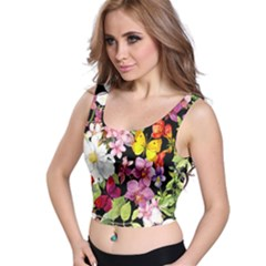 Beautiful,floral,hand painted, flowers,black,background,modern,trendy,girly,retro Crop Top