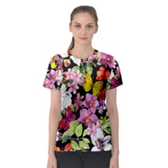 Beautiful,floral,hand painted, flowers,black,background,modern,trendy,girly,retro Women s Sport Mesh Tee