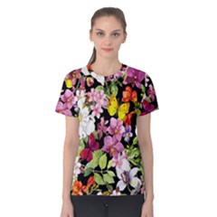 Beautiful,floral,hand painted, flowers,black,background,modern,trendy,girly,retro Women s Cotton Tee