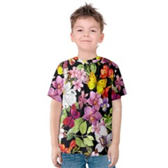 Beautiful,floral,hand painted, flowers,black,background,modern,trendy,girly,retro Kids  Cotton Tee
