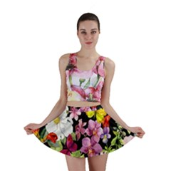 Beautiful,floral,hand painted, flowers,black,background,modern,trendy,girly,retro Mini Skirt