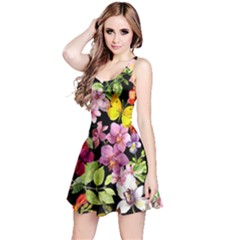 Beautiful,floral,hand painted, flowers,black,background,modern,trendy,girly,retro Reversible Sleeveless Dress