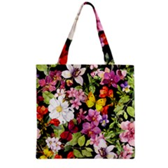 Beautiful,floral,hand painted, flowers,black,background,modern,trendy,girly,retro Grocery Tote Bag