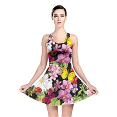 Beautiful,floral,hand painted, flowers,black,background,modern,trendy,girly,retro Reversible Skater Dress