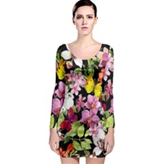 Beautiful,floral,hand painted, flowers,black,background,modern,trendy,girly,retro Long Sleeve Bodycon Dress