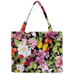 Beautiful,floral,hand painted, flowers,black,background,modern,trendy,girly,retro Mini Tote Bag