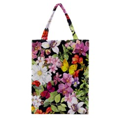 Beautiful,floral,hand painted, flowers,black,background,modern,trendy,girly,retro Classic Tote Bag