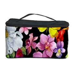 Beautiful,floral,hand painted, flowers,black,background,modern,trendy,girly,retro Cosmetic Storage Case