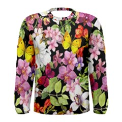 Beautiful,floral,hand painted, flowers,black,background,modern,trendy,girly,retro Men s Long Sleeve Tee