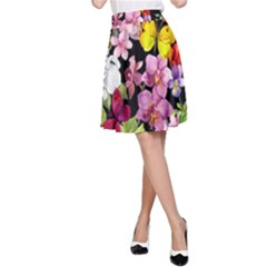 Beautiful,floral,hand painted, flowers,black,background,modern,trendy,girly,retro A-Line Skirt