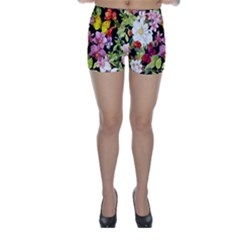 Beautiful,floral,hand painted, flowers,black,background,modern,trendy,girly,retro Skinny Shorts
