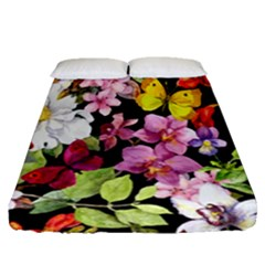Beautiful,floral,hand painted, flowers,black,background,modern,trendy,girly,retro Fitted Sheet (Queen Size)