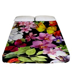 Beautiful,floral,hand painted, flowers,black,background,modern,trendy,girly,retro Fitted Sheet (King Size)