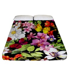 Beautiful,floral,hand painted, flowers,black,background,modern,trendy,girly,retro Fitted Sheet (California King Size)