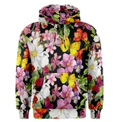 Beautiful,floral,hand painted, flowers,black,background,modern,trendy,girly,retro Men s Pullover Hoodie