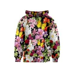 Beautiful,floral,hand painted, flowers,black,background,modern,trendy,girly,retro Kids  Pullover Hoodie
