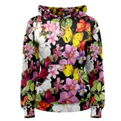 Beautiful,floral,hand painted, flowers,black,background,modern,trendy,girly,retro Women s Pullover Hoodie