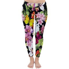 Beautiful,floral,hand painted, flowers,black,background,modern,trendy,girly,retro Classic Winter Leggings