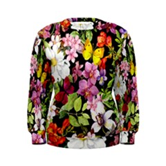 Beautiful,floral,hand painted, flowers,black,background,modern,trendy,girly,retro Women s Sweatshirt