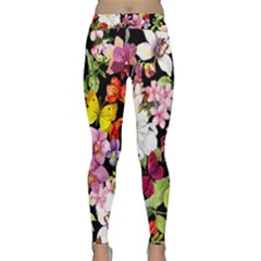Beautiful,floral,hand painted, flowers,black,background,modern,trendy,girly,retro Classic Yoga Leggings