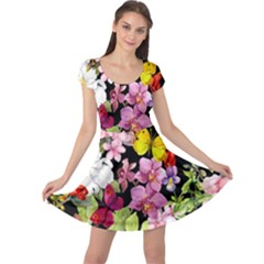 Beautiful,floral,hand painted, flowers,black,background,modern,trendy,girly,retro Cap Sleeve Dress