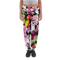 Beautiful,floral,hand painted, flowers,black,background,modern,trendy,girly,retro Women s Jogger Sweatpants
