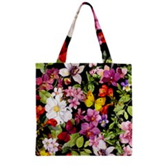 Beautiful,floral,hand painted, flowers,black,background,modern,trendy,girly,retro Zipper Grocery Tote Bag