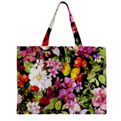 Beautiful,floral,hand painted, flowers,black,background,modern,trendy,girly,retro Zipper Mini Tote Bag