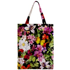Beautiful,floral,hand Painted, Flowers,black,background,modern,trendy,girly,retro Zipper Classic Tote Bag by 8fugoso
