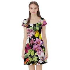 Beautiful,floral,hand painted, flowers,black,background,modern,trendy,girly,retro Short Sleeve Skater Dress