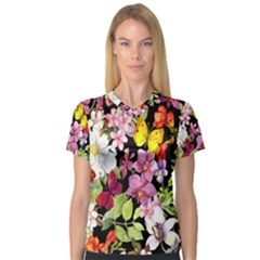 Beautiful,floral,hand painted, flowers,black,background,modern,trendy,girly,retro V-Neck Sport Mesh Tee