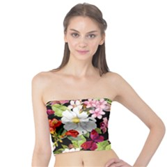 Beautiful,floral,hand painted, flowers,black,background,modern,trendy,girly,retro Tube Top