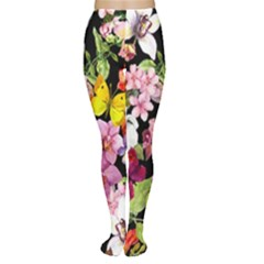 Beautiful,floral,hand painted, flowers,black,background,modern,trendy,girly,retro Women s Tights