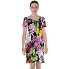 Beautiful,floral,hand painted, flowers,black,background,modern,trendy,girly,retro Short Sleeve Nightdress