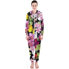Beautiful,floral,hand painted, flowers,black,background,modern,trendy,girly,retro Hooded Jumpsuit (Ladies)