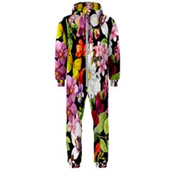 Beautiful,floral,hand painted, flowers,black,background,modern,trendy,girly,retro Hooded Jumpsuit (Men)