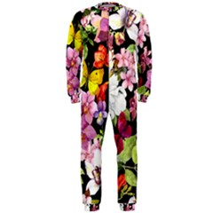 Beautiful,floral,hand painted, flowers,black,background,modern,trendy,girly,retro OnePiece Jumpsuit (Men)