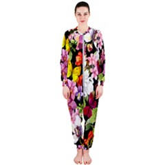 Beautiful,floral,hand painted, flowers,black,background,modern,trendy,girly,retro OnePiece Jumpsuit (Ladies)