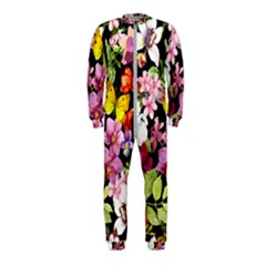 Beautiful,floral,hand painted, flowers,black,background,modern,trendy,girly,retro OnePiece Jumpsuit (Kids)