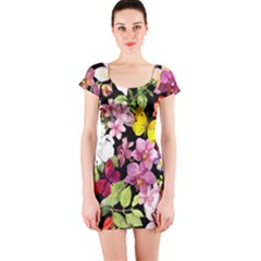 Beautiful,floral,hand painted, flowers,black,background,modern,trendy,girly,retro Short Sleeve Bodycon Dress