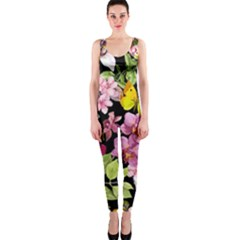 Beautiful,floral,hand painted, flowers,black,background,modern,trendy,girly,retro OnePiece Catsuit