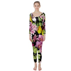 Beautiful,floral,hand painted, flowers,black,background,modern,trendy,girly,retro Long Sleeve Catsuit
