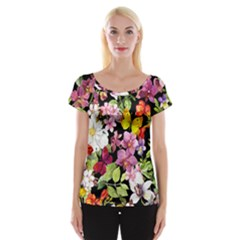 Beautiful,floral,hand Painted, Flowers,black,background,modern,trendy,girly,retro Cap Sleeve Tops by 8fugoso