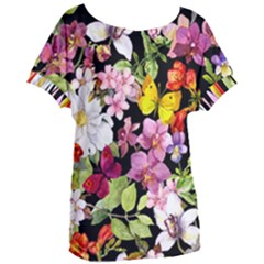 Beautiful,floral,hand painted, flowers,black,background,modern,trendy,girly,retro Women s Oversized Tee