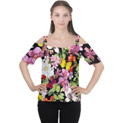 Beautiful,floral,hand painted, flowers,black,background,modern,trendy,girly,retro Cutout Shoulder Tee
