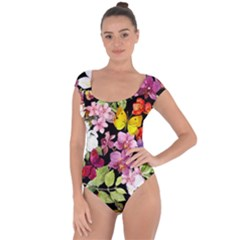Beautiful,floral,hand painted, flowers,black,background,modern,trendy,girly,retro Short Sleeve Leotard