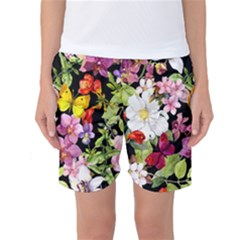 Beautiful,floral,hand painted, flowers,black,background,modern,trendy,girly,retro Women s Basketball Shorts