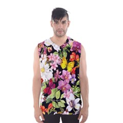Beautiful,floral,hand painted, flowers,black,background,modern,trendy,girly,retro Men s Basketball Tank Top