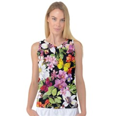 Beautiful,floral,hand painted, flowers,black,background,modern,trendy,girly,retro Women s Basketball Tank Top